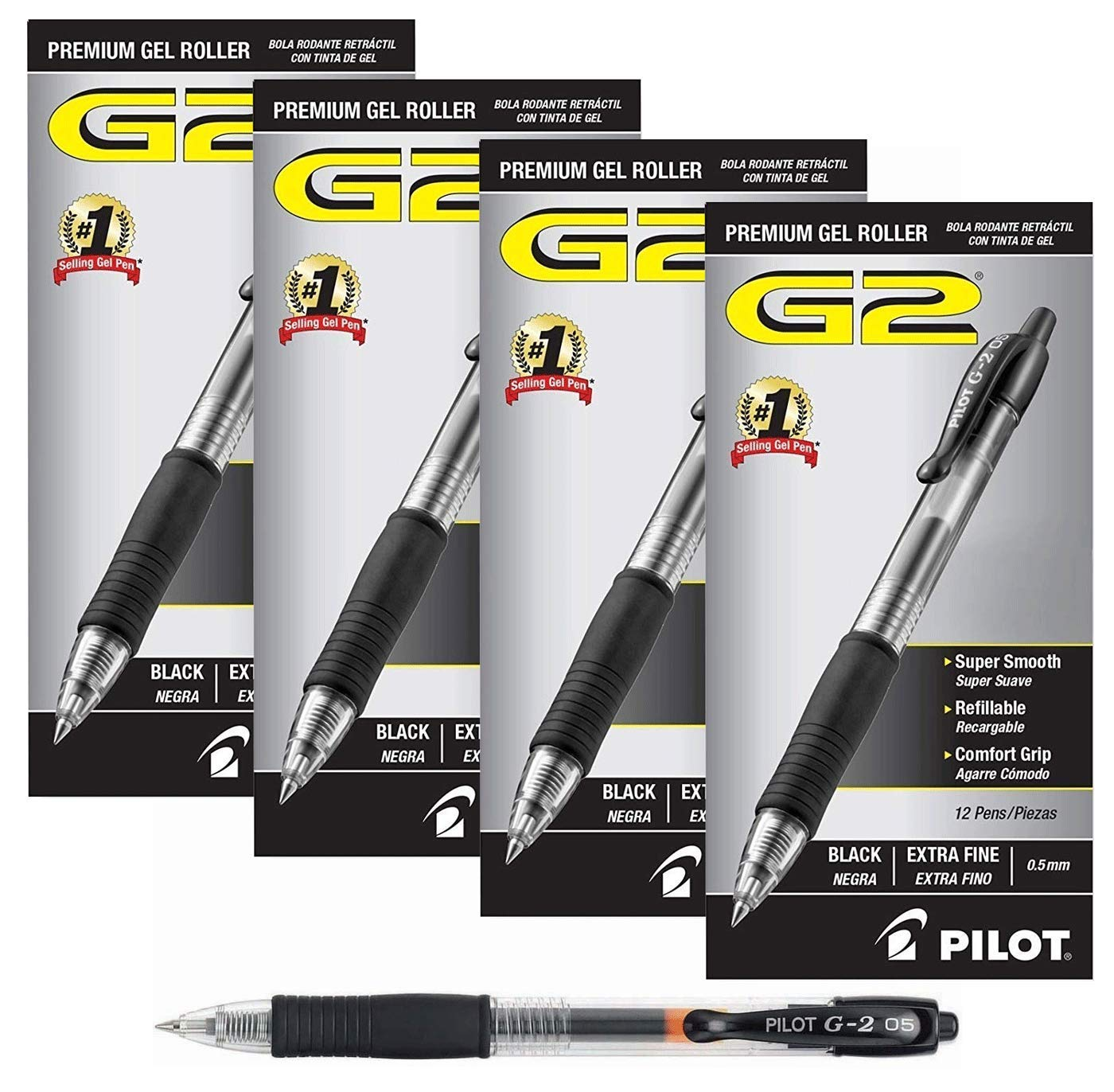 Pilot G2 Retractable Premium Gel Ink Roller Ball Pens Extra Fine (.5) 4 Dozen Black; Retractable, Refillable & Premium Comfort Grip; Smooth Lines to the End of Page, America's #1 Selling Pen Brand