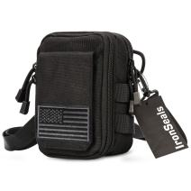IronSeals First Aid EMT Pouch, Multipurpose Tactical Nylon Molle Utility IFAK Pouch Waist Bag Holster Combo Detachable Strap with US Flag Patch