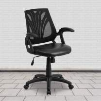 Flash Furniture Mid-Back Designer Black Mesh Swivel Task Office Chair with LeatherSoft Seat and Open Arms, BIFMA Certified
