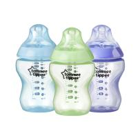 Tommee Tippee Closer to Nature Baby Bottle, Anti-Colic, BPA-Free- Boy, Blue/Green/Purple, Slow Flow, 9 Ounce, 3 Count