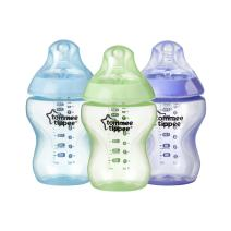 Tommee Tippee Closer to Nature Baby Bottle, Anti-Colic, BPA-Free - Boy, Blue/Green/Purple, Slow Flow, 9 Ounce, 3 Count