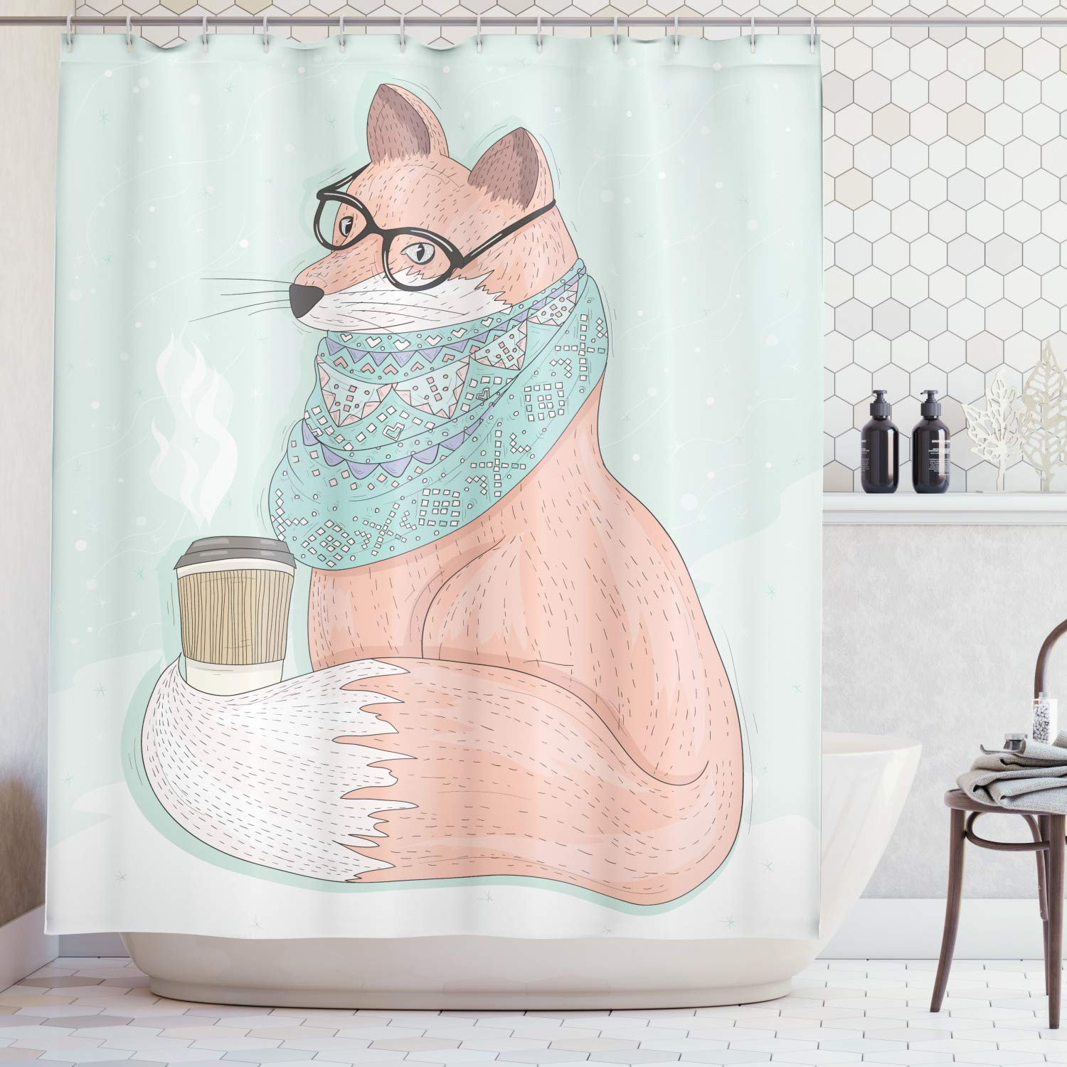 """Ambesonne Animal Shower Curtain, Hipster Fox with Glasses and Scarf Drinking Coffee Hippie Illustration, Cloth Fabric Bathroom Decor Set with Hooks, 70"""" Long, Coral Mint"""