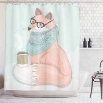 """Ambesonne Animal Shower Curtain, Hipster Fox with Glasses and Scarf Drinking Coffee Hippie Illustration, Cloth Fabric Bathroom Decor Set with Hooks, 84"""" Long Extra, Coral Mint"""