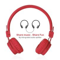 Termichy Wired Kids Headphones for Kids Music Sharing, Lightweight and Foldable, Adjustable for Stereo Headset Cellphones Smartphones iPhone iPod Laptop Computer-Red