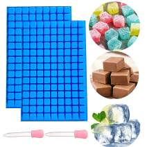 2 PCS JeVenis 126 Cavity Ice Cube Tray Mold Chocolate Mold Mini Candy Molds Jello Mold Gummy Mold with Silicone Dropper Clip