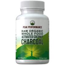 Organic Activated Charcoal Vegan Capsules from Wild Harvested Organic Coconut Shells. Best Safe Charcoal Pills Supplement for Detox, Gas Relief, Bloating. for Men and Women 90 All Natural Tablets