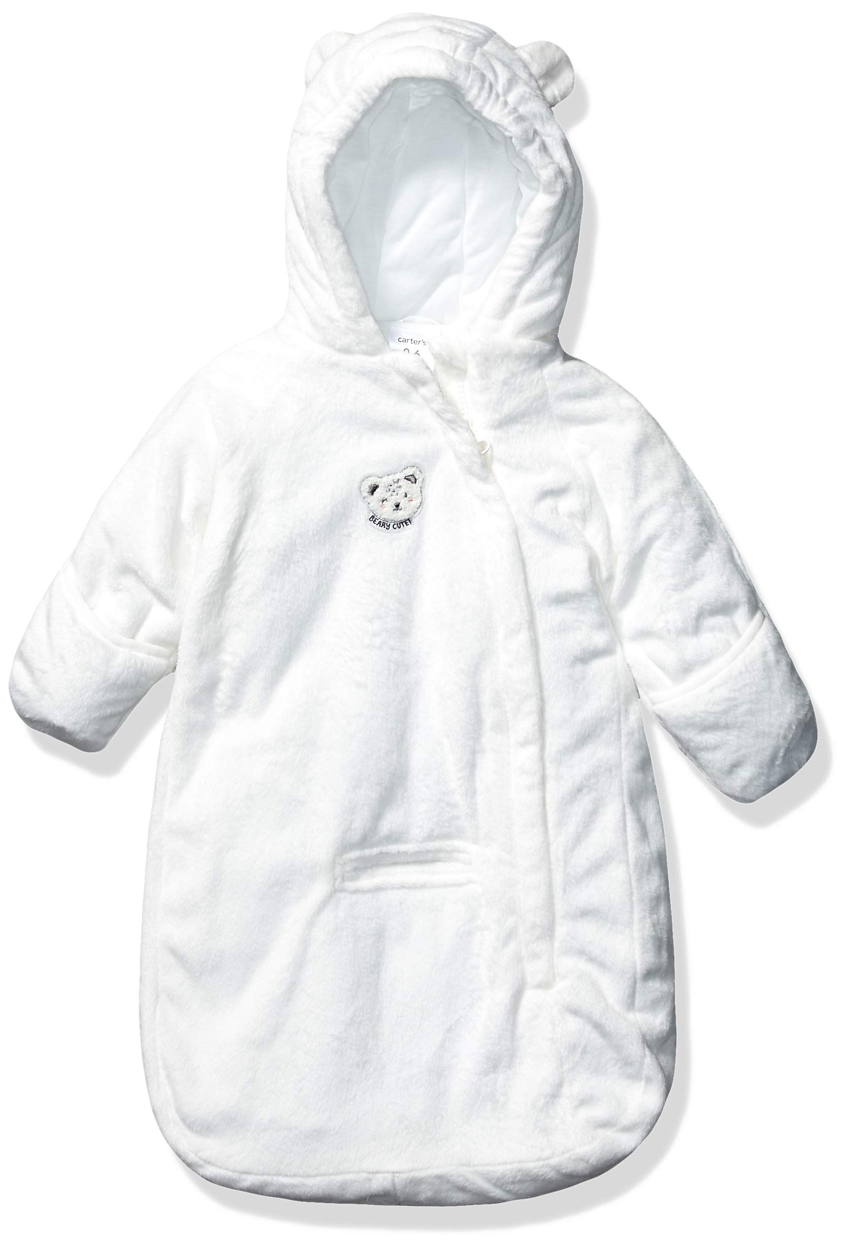 Carter's Baby Girls Bundle Up Cozy Pram with Ears, Ivory Bear Bag, 0/6 Months