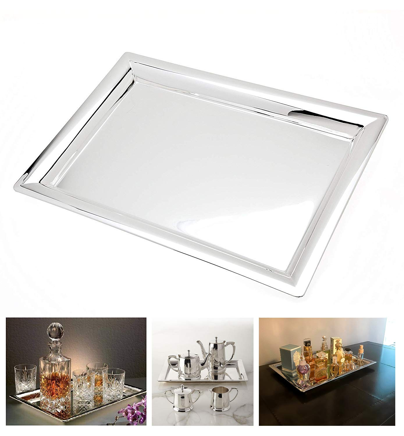 Le Raze Elegant Mirrored Rectangular Silver Tray Mirrored Tray For Whiskey Decanter Candle Sticks Vanity Set Perfume Tray And Serving