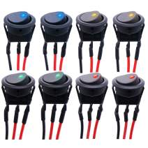 Twidec/8Pcs SPST Round Dot Rocker Toggle Switch Control for Car Or Boat 20A 12V DC On/Off 4 Colors LED Light with Pre-soldered Wires KCD2-102N-4C-X