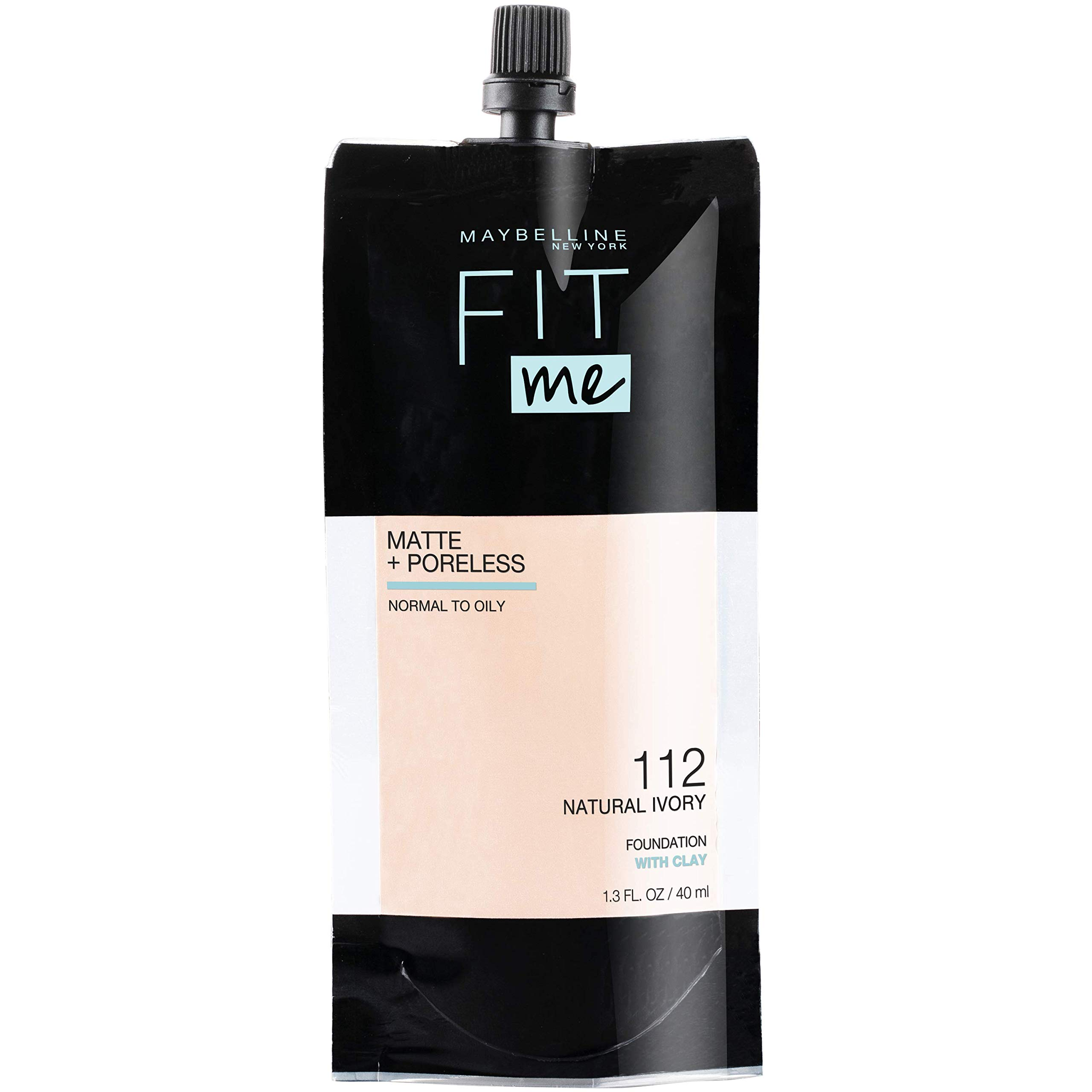 Maybelline Fit Me Matte + Poreless Liquid Foundation, Face Makeup, Mess-Free No Waste Pouch Format, Normal to Oily Skin Types, Natural Ivory, 1.3 Fl Oz
