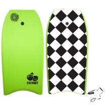 KONA SURF CO. Coconut Body Board Lightweight Soft Foam Top Boogie Bodyboard Package Includes Premium Wrist Leash