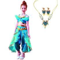 Girls Jasmine Costume Princess Dress - Aladdin Arabian Halloween Party Cosplay for Kids Toddler Child Teen