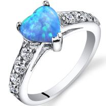 Created Powder Blue Opal Heart Ring Sterling Silver 1.00 Carats Sizes 5 to 9