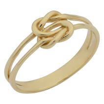 14k Yellow Gold Double Band Love Knot Ring