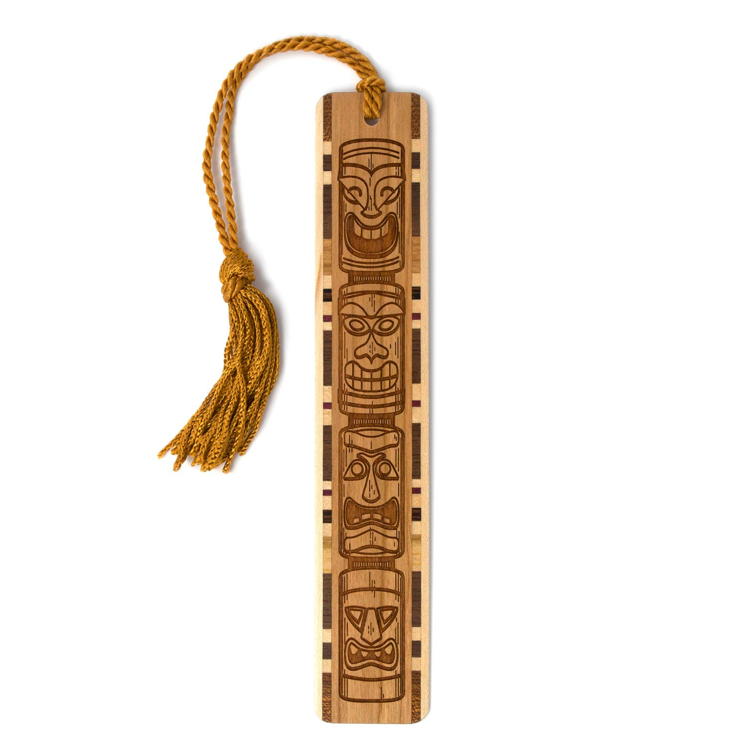 Tiki Totem Artwork, Engraved Wooden Bookmark with Tassel - Search B07QZTSP77 for Personalized Version