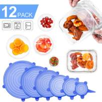 Farielyn-X Silicone Stretch Lids (12 Pack,Double Color,Various Size), Reusable Durable and Expandable Lids, Eco-friendly Stretch for Container, Bowl and Cup in Dishwasher, Refrigerator and Microwave