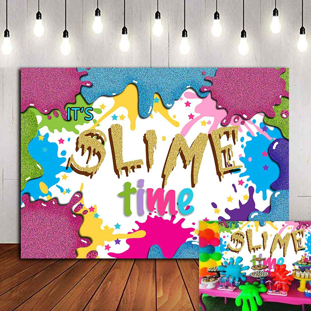 Fiesta Slime Backdrop for Kids Party Photography Photo Booths 7x5ft Vinyl Colorful Splatter Graffiti It's Slime Time Photo Background Birthday Supplies Banner Party Decorations Studio Props