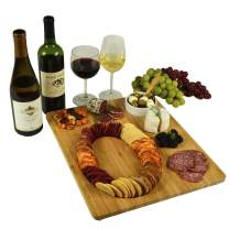 Picnic at Ascot Monogram Bamboo Cheese/Charcuterie/Cracker Serving Board - Includes Ceramic Dip/Olive Bowl with bamboo spoon- Designed and Quality Assured in the USA-Patent Pending