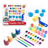 Washable Paint Set for Kids, Acrylic Paint Pots, Semi-moist Watercolor, Finger Paints, with Paint Brushes & Sponge Roller & Sponge Stamps, Big and Rich Paint Set, Children Early Learning Art Supplies
