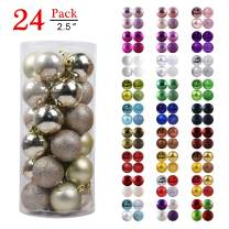 """GameXcel Christmas Balls Ornaments for Xmas Tree - Shatterproof Christmas Tree Decorations Large Hanging Ball Champagne Gold 2.5"""" x 24 Pack"""