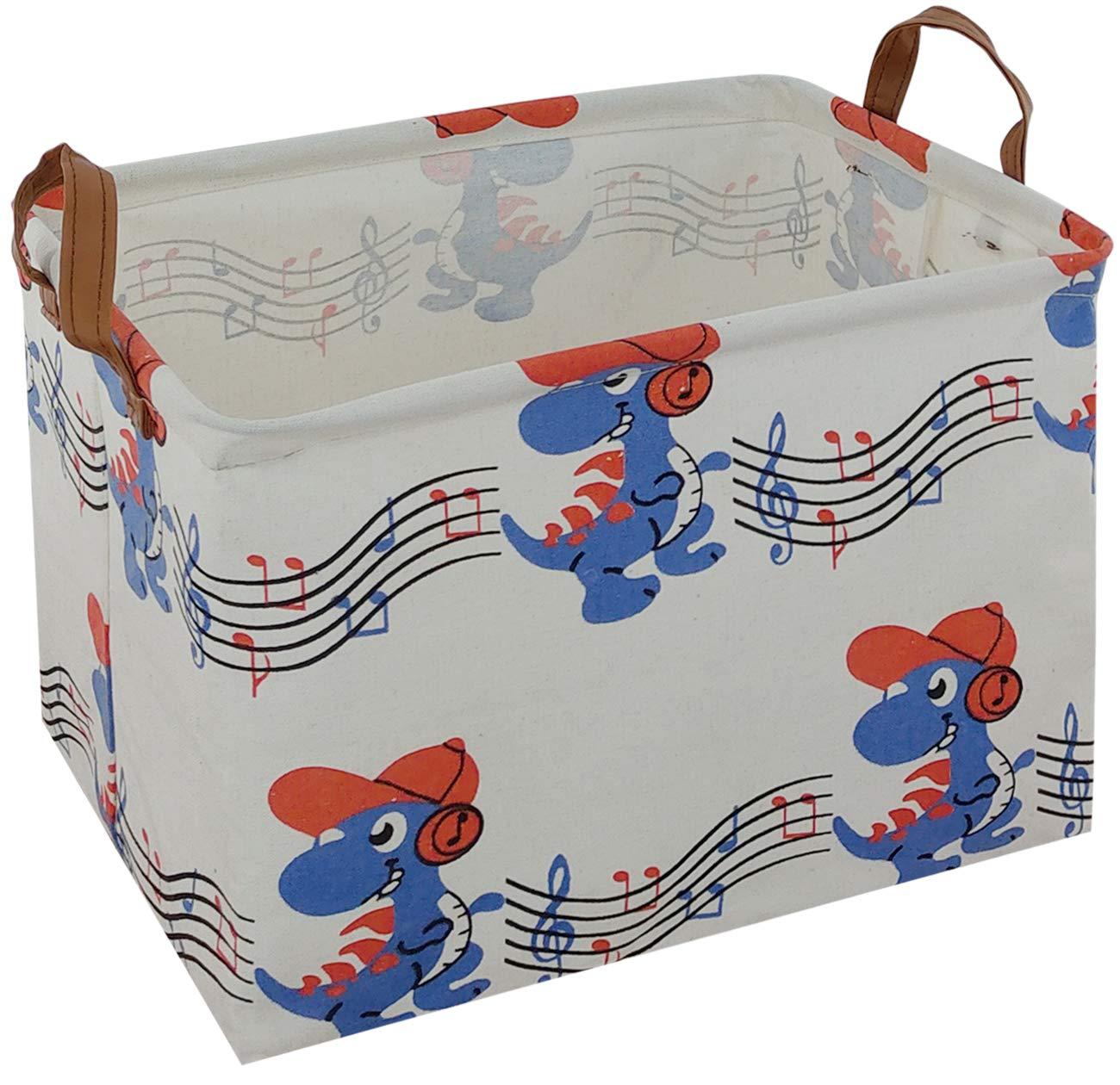 ASKETAM Rectangular Storage Bin,Canvas Fabric Storage Basket,Foldable Toy Storage Organizer,Waterproof Nursery Hamper for Kids Toy,Clothes,Office, Bedroom,Gift Basket (Music Dinosaurs)
