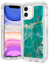 WOLLONY foriPhone 11 Case Marble Gold Glitter Girly Sparkle 3 in 1 Heavy Duty Hybrid Impact Resistant Shockproof Hard Bumper Non-Slip Soft Rubber Protective Cover for iPhone 11 6.1inch Teal