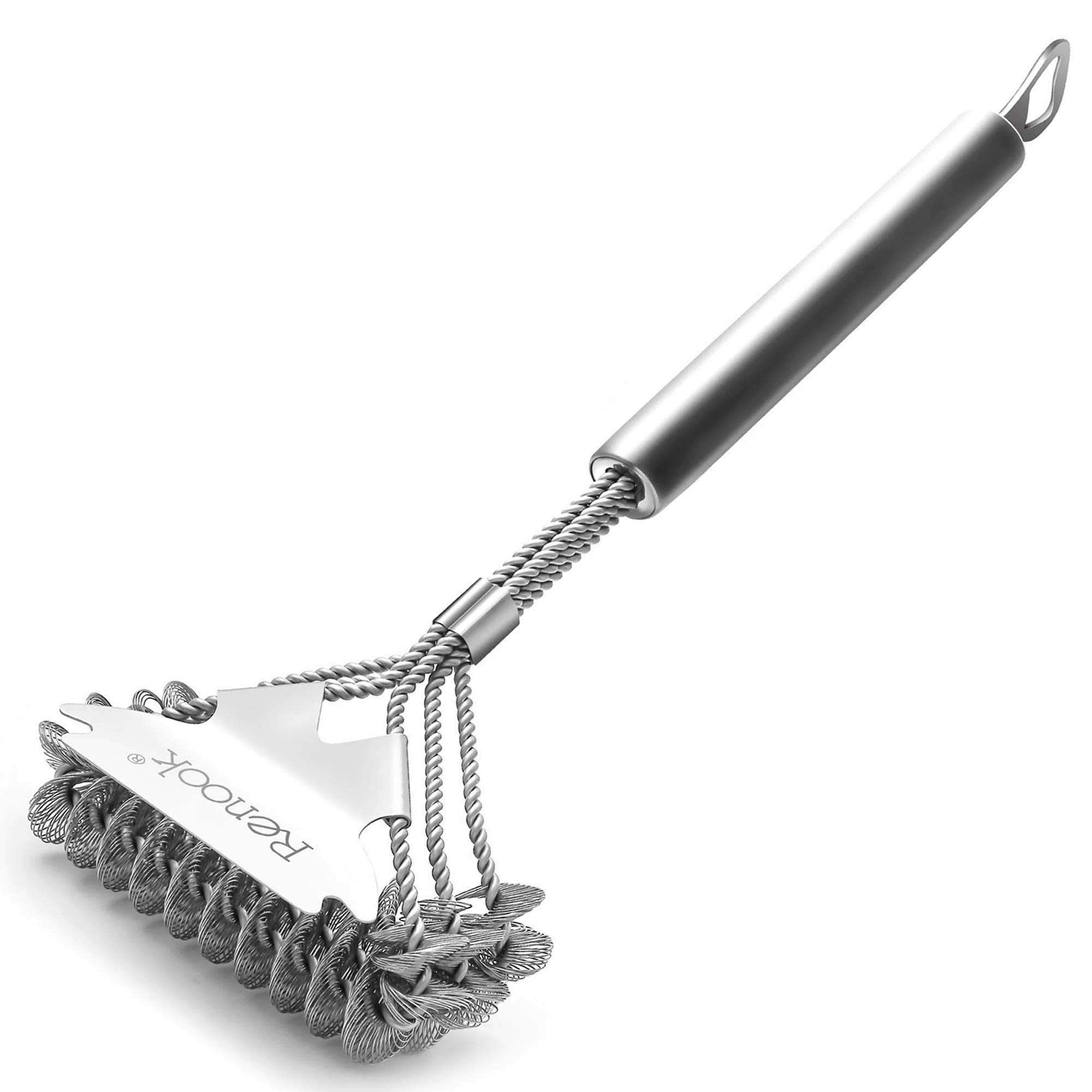 RENOOK Safe Grill Brush Bristle-Free Stainless- Steel Handle with Effective Scraper. Stainless -Steel Grill Cleaner for Weber Gas/Charcoal Porcelain/Ceramic/Steel etc-18 Inches.