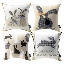 Phantoscope Pack of 4 Happy Easter Throw Pillow Case Spring Bunny Rabbits Trimmed Checker Plaid Cushion Cover, Beige and Black, 18 x 18 inches, 45 x 45 cm