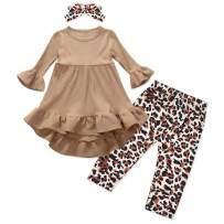 Toddler Baby Girl Long Sleeve Ruffle Dress Tops + Leopard Pants + Headband Outfit 3Pcs Sets