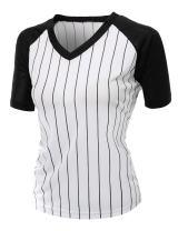 Xpril Women's Casual Cool Max Striped Short Sleeve Baseball V-Neck T-Shirt