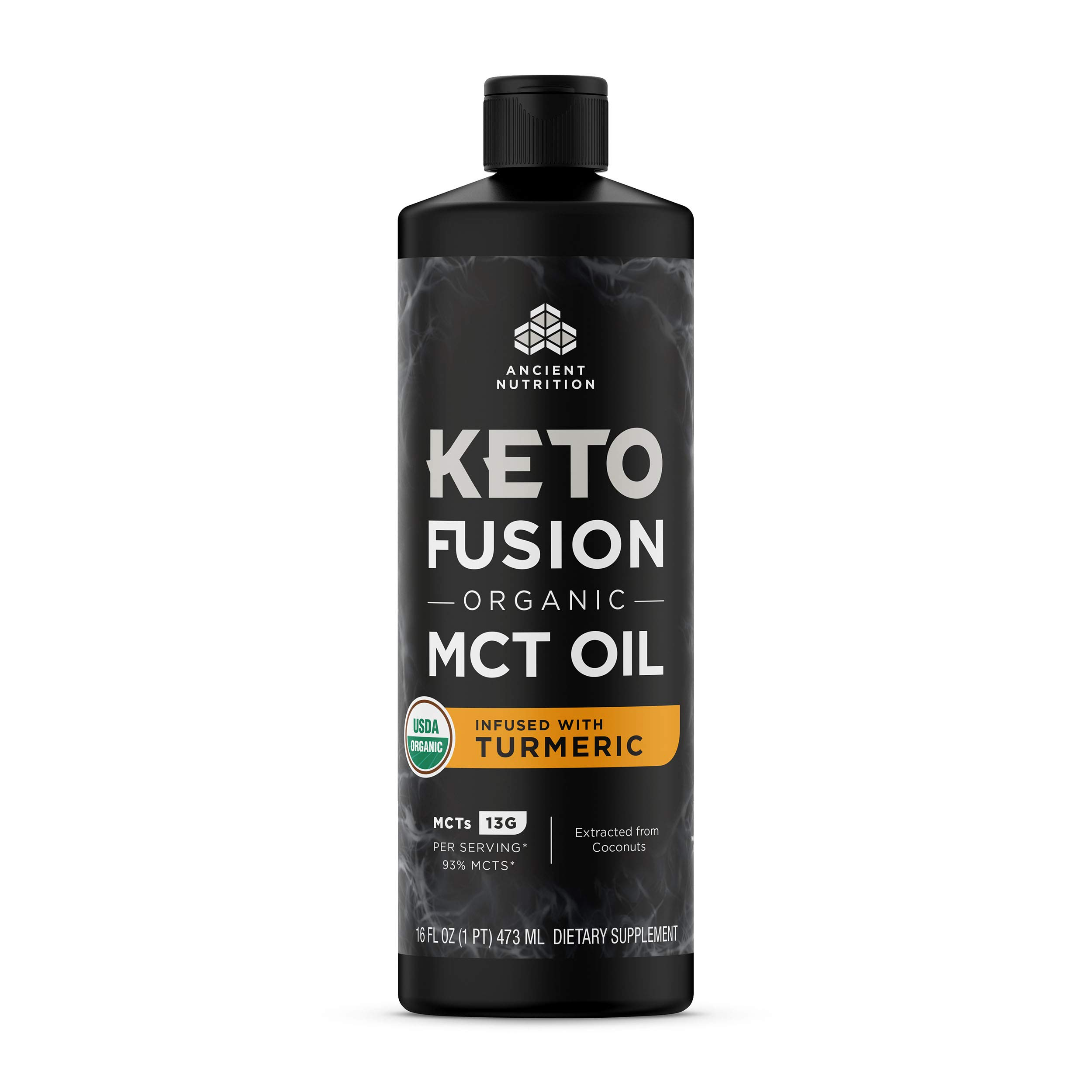 KetoFUSION MCT Oil Turmeric Flavor, MCTs from Coconut, Certified USDA Organic, Organic Turmeric, 16 oz…