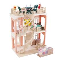 FULIM Forest-Family DIY Dollhouse Kit Set - Portable Doll House Playset Toddler Toys for 3 4 5 6 Year Old Girls Kids with Furniture Accessories and Two Critters, 2-Story