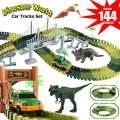 Dinosaur Tracks, Electric Car Toy, 144 Piece Train Tracks for Kids, Dinosaur Toy, Race Tracks, T Rex Play Set, 3 4 5 6 7 8 Year Old Boy Toys