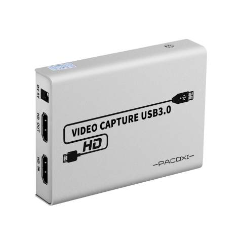 PACOXI Capture Card, 1080P 60FPS USB3.0 HDMI Game Capture Card with HDMI Passthrough Support HD Video Windows 7 8 10 Mac Lunix OBS Twitch for PS3 PS4 Xbox Wii U Streaming and Recording,HD101