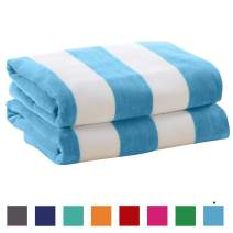 """Great Bay Home 2 Pack Plush Velour 100% Cotton Beach Towels. Cabana Stripe Pool Towels for Adults. (Air Blue, 2 Pack- 30"""" x 60"""")"""