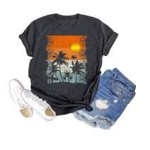 Binshre Beach and Sunshine Shirts for Women Summer Funny Travel Vacation Short Sleeve Tee Tops
