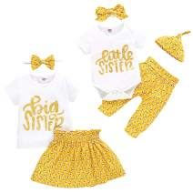 Baby Girls Sister Matching Clothes Little Big Sister Tops Bodysuit Honey Bees Pants Bowknot Headband Outfits Set
