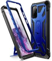 Poetic Spartan Series Designed for Galaxy S20+ Plus Case, Full-Body Rugged Dual-Layer Metallic Color Accent Premium Leather Texture Shockproof Protective Cover with Kickstand, Metallic Cobalt Blue