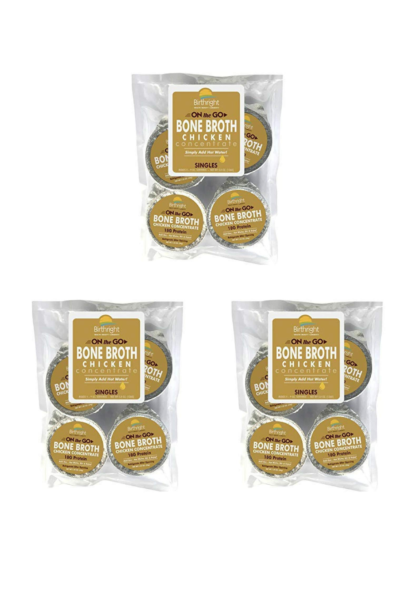 Birthright Chicken Bone Broth Concentrate - Organic Grass Fed,18 Grams of Protein, 15 Grams of Collagen - 12 Single Cup Servings
