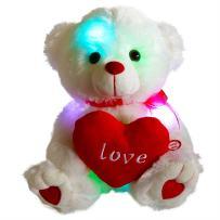 Bstaofy LED Teddy Bear Stuffed Animal Glow Soft Plush Toy Nightlight Companion Gifts for Birthday Valentine Christmas, 10.5'', White