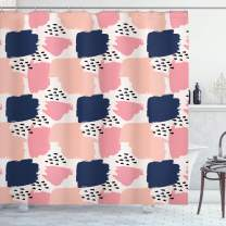 """Ambesonne Navy and Blush Shower Curtain, Hand Painted Style Brushstrokes in Pastel Colors Abstract Pattern, Cloth Fabric Bathroom Decor Set with Hooks, 84"""" Long Extra, Blue Pink"""