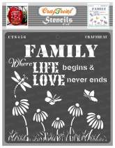 CrafTreat Love Stencils for Painting on Wood, Canvas, Paper, Fabric, Floor and Tile - Family Love - 6x6 Inches - Reusable DIY Art and Craft Stencils - Family Where Life Begins and Love Never Ends
