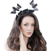 Butterfly Fascinator for Women Tea Party Headband Kentucky Derby Mesh Feathers Hat with Hair Clip