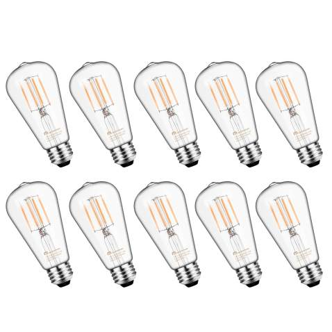 Mastery Mart Vintage Led Light Bulb Glass St21 Antique Edison Style Dimmable 5 5w 60 Watt Equivalent 500lm 2700k Soft White E26 Decorative Filament Bulb Ul And Energy Star 10 Pack