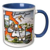 3dRose 169565_6 Greetings From Idaho Sun Valley Boise With Scenes From The State Two Tone Mug, 11 oz, Blue