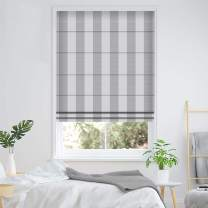 ALLBRIGHT Blackout Window Roman Shades, Thermal Insulated UV Protection White with Flax Gray Pinstripe Roman Blinds for Home (31 x 83 inches, Snow White)