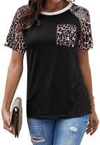 Yidarton Womens Short Sleeve Tops Crew Neck Casual Leopard Print Shirts with Pocket Tee Animal Print for Womem