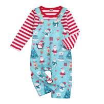 Christmas Kids Toddler Baby Boys Girls Winter Outfits Xmas Striped Shirt+Santa Snowflake Overall Pants Set Clothes