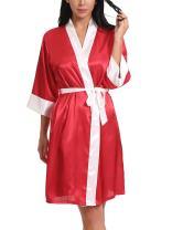 FasiCat Women Sexy Sleepwear Bathrobes Lingerie Satin Kimono Robes Nightgown