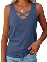 Fallorchid Women's V Neck Tank Tops Criss Cross Neckline Casual Tees Summer Sleeveless Shirts